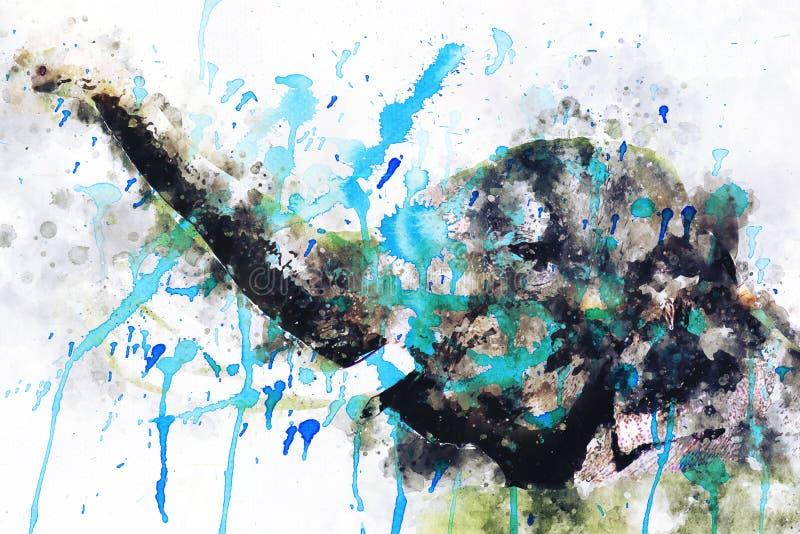 Εικόνα του ελέφαντα με το ελεφαντόδοντο, ψηφιακή ζωγραφική watercolor ελεύθερη απεικόνιση δικαιώματος