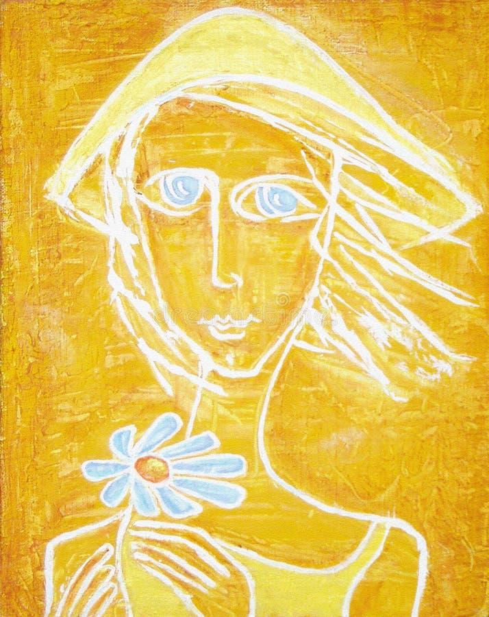 Εικόνα του ηλιόλουστου μπλε-eyed κοριτσιού με το μπλε λουλούδι αφηρημένη ακρυλική ζωγραφική απεικόνιση αποθεμάτων