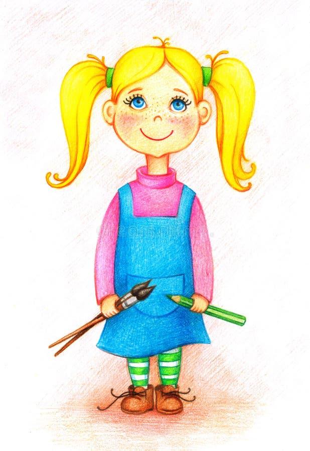 Εικόνα του καλλιτέχνη μικρών κοριτσιών με τις βούρτσες και το μολύβι ελεύθερη απεικόνιση δικαιώματος
