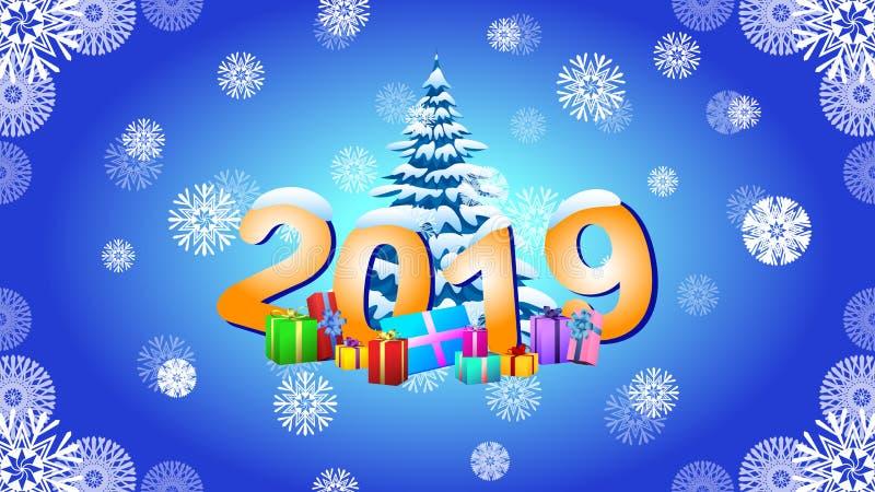 Εικόνα 2019 του νέου έτους και χριστουγεννιάτικο δέντρο με το χιόνι ελεύθερη απεικόνιση δικαιώματος