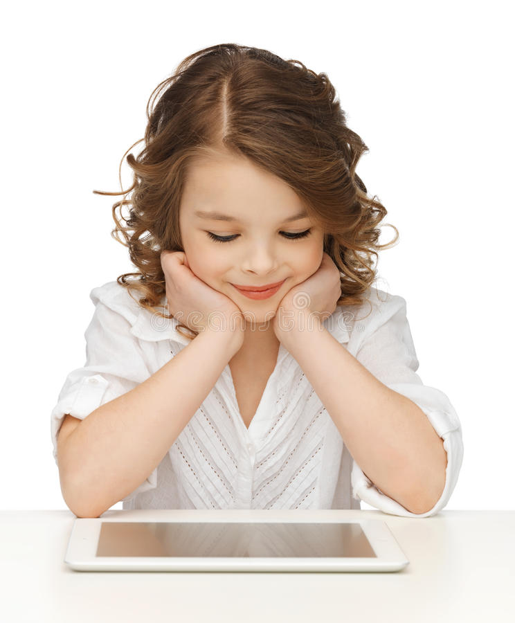 Κορίτσι με το PC ταμπλετών στοκ εικόνες