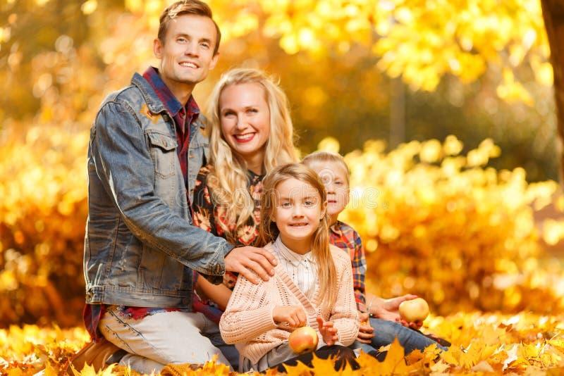 Εικόνα των εύθυμων γονέων και των παιδιών που κάθονται στο πάρκο φθινοπώρου στοκ φωτογραφίες με δικαίωμα ελεύθερης χρήσης