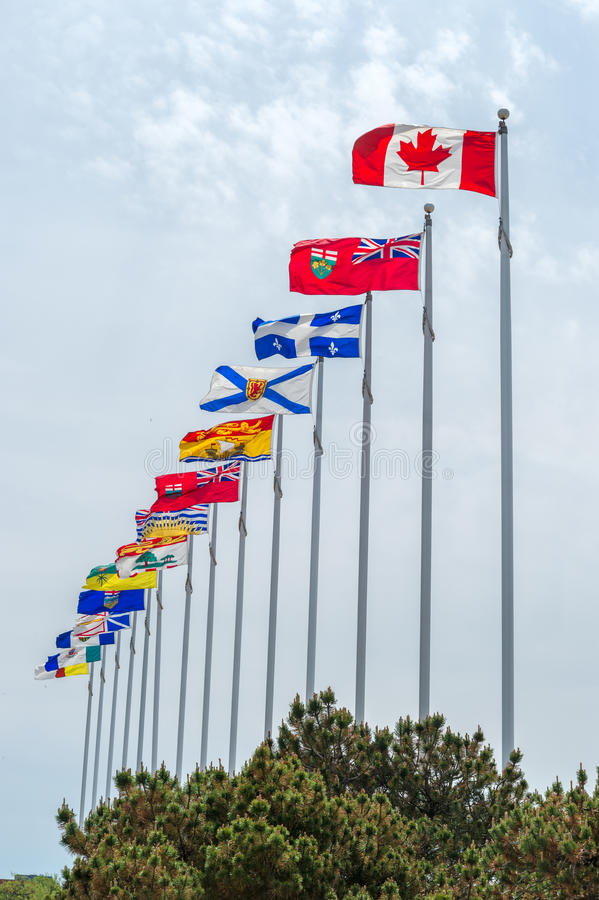 Εικόνα των καναδικών και επαρχιακών σημαιών στοκ εικόνα με δικαίωμα ελεύθερης χρήσης