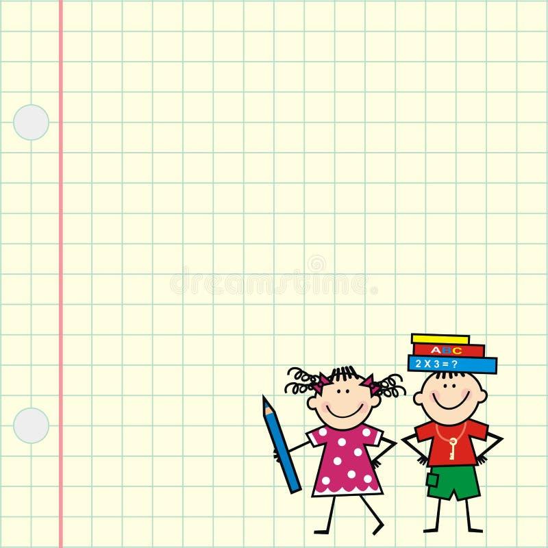 Εικόνα των παιδιών σε τετραγωνικό χαρτί διανυσματική απεικόνιση