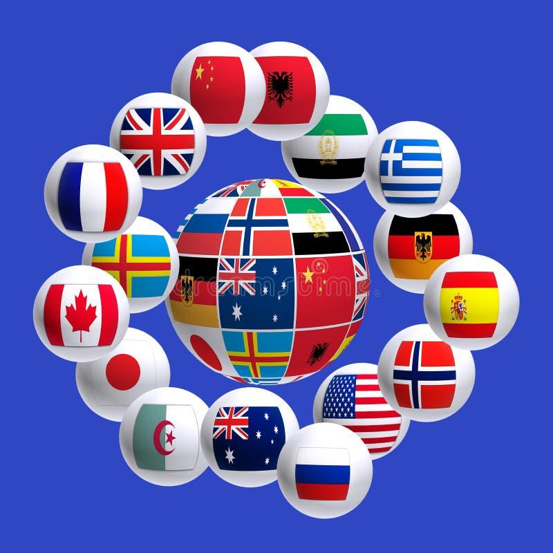 Εικόνα των σημαιών των διαφορετικών χωρών σε μια σφαίρα ελεύθερη απεικόνιση δικαιώματος