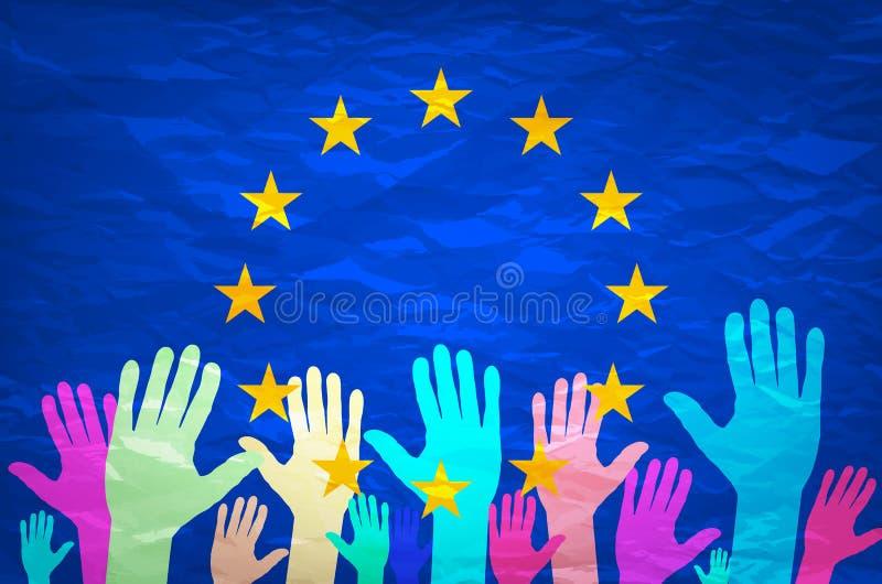 Εικόνα των χεριών στο υπόβαθρο της ευρωπαϊκής σημαίας η επιλογή κάνει Ψηφοφορία Πετάξτε την ψηφοφορία σας για την Ευρώπη ελεύθερη απεικόνιση δικαιώματος