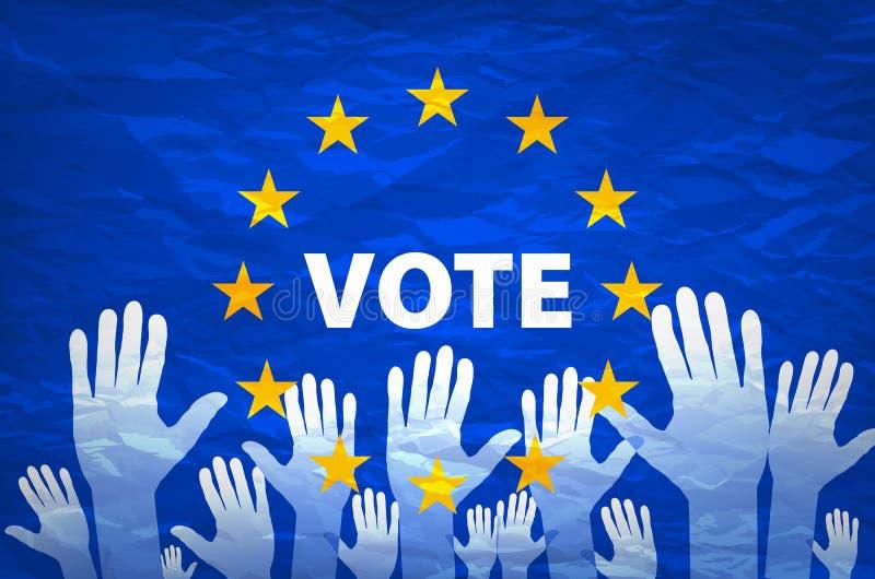Εικόνα των χεριών στο υπόβαθρο της ευρωπαϊκής σημαίας η επιλογή κάνει Ψηφοφορία Πετάξτε την ψηφοφορία σας για την Ευρώπη απεικόνιση αποθεμάτων