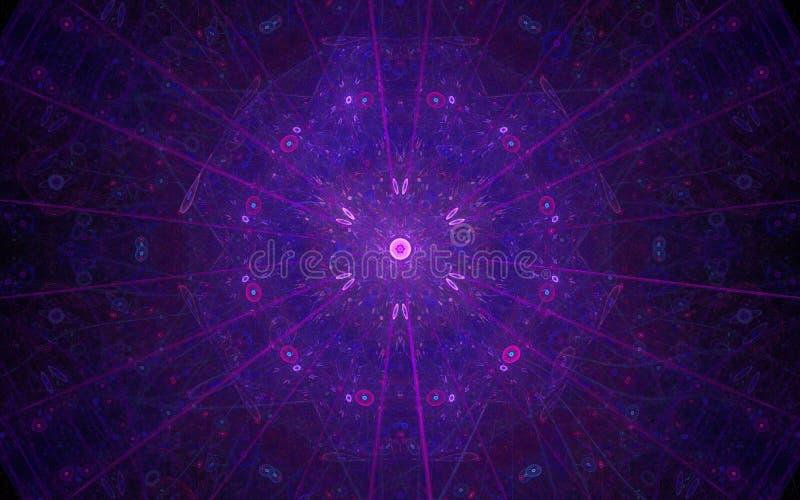 Εικόνα υποβάθρου ενός αφηρημένου σχεδίου του ιώδους και πορφυρού χρώματος που αποτελείται από τις γραμμές και τους κύκλους που μο διανυσματική απεικόνιση