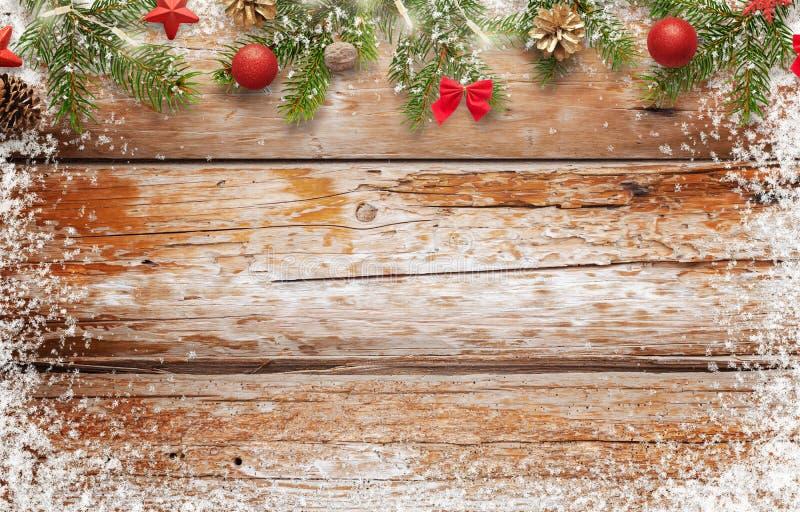 Εικόνα υποβάθρου Χριστουγέννων ξύλινος πίνακας με ελεύθερου χώρου για το κείμενο στοκ εικόνες