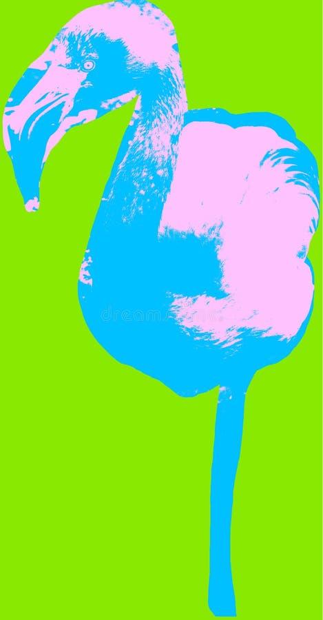 Εικόνα φλαμίγκο πέρα από το πράσινο υπόβαθρο ελεύθερη απεικόνιση δικαιώματος