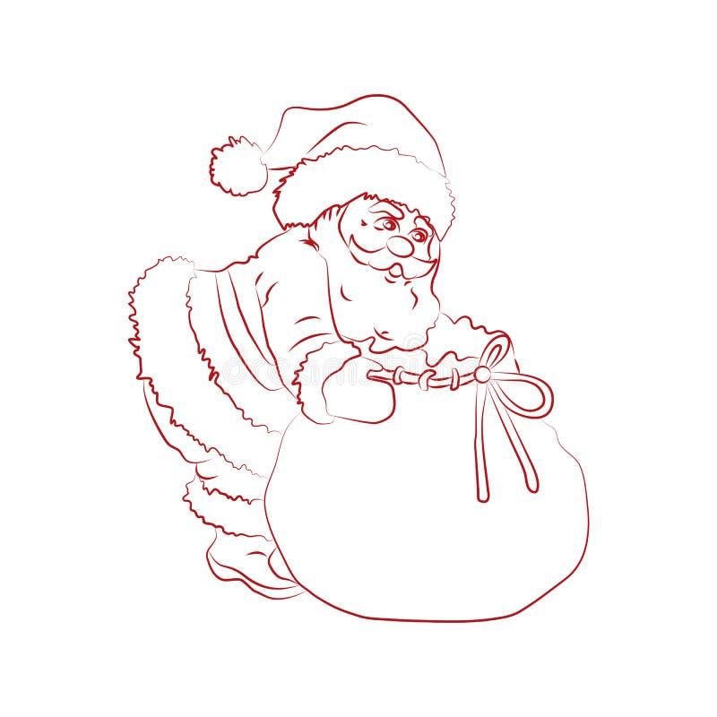 Εικόνα Χριστουγέννων: Άγιος Βασίλης με μια τσάντα των δώρων, περιγράμματα eps10 διανυσματική απεικόνιση