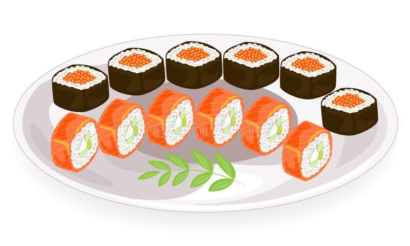 Εικόνα χρώματος Καθαρισμένα πιάτα της ιαπωνικής εθνικής κουζίνας Σε ένα υπέροχα εξυπηρετούμενο πιάτο είναι θαλασσινά, σούσια, ρόλ διανυσματική απεικόνιση