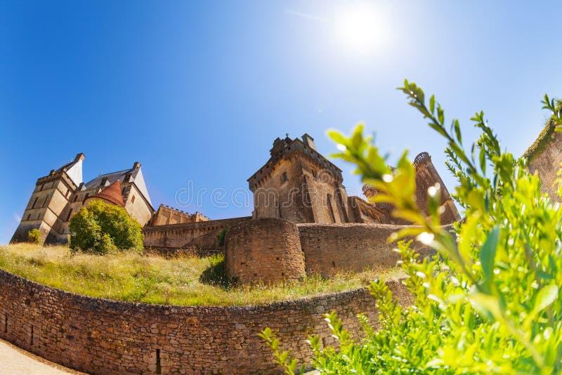 Εικόνα ψάρι-ματιών Chateau de Biron του κάστρου στοκ φωτογραφία