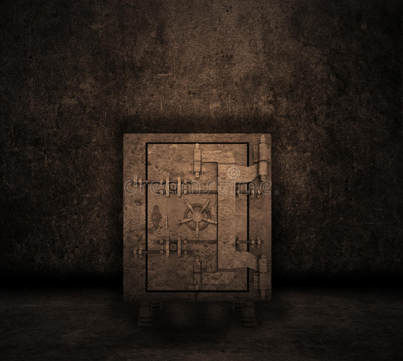 Εσωτερικό Grunge με το χρηματοκιβώτιο διανυσματική απεικόνιση