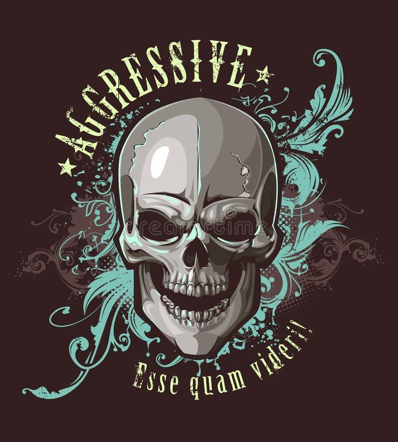 Εικόνα Grunge με το κρανίο διανυσματική απεικόνιση