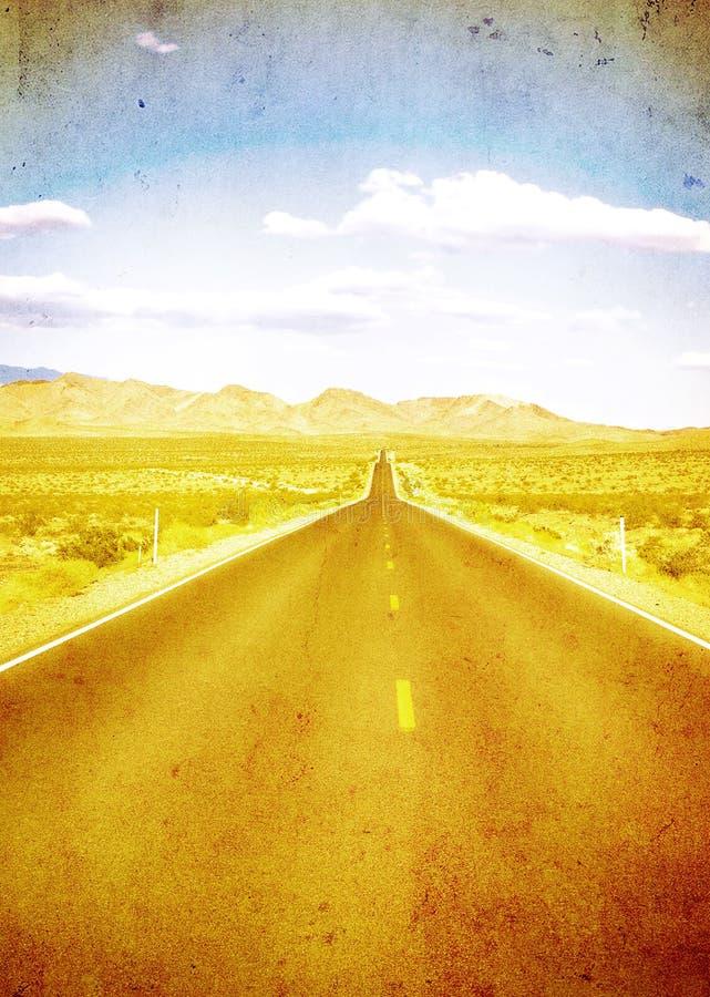 Εικόνα Grunge της εθνικής οδού και του μπλε ουρανού στοκ φωτογραφία με δικαίωμα ελεύθερης χρήσης