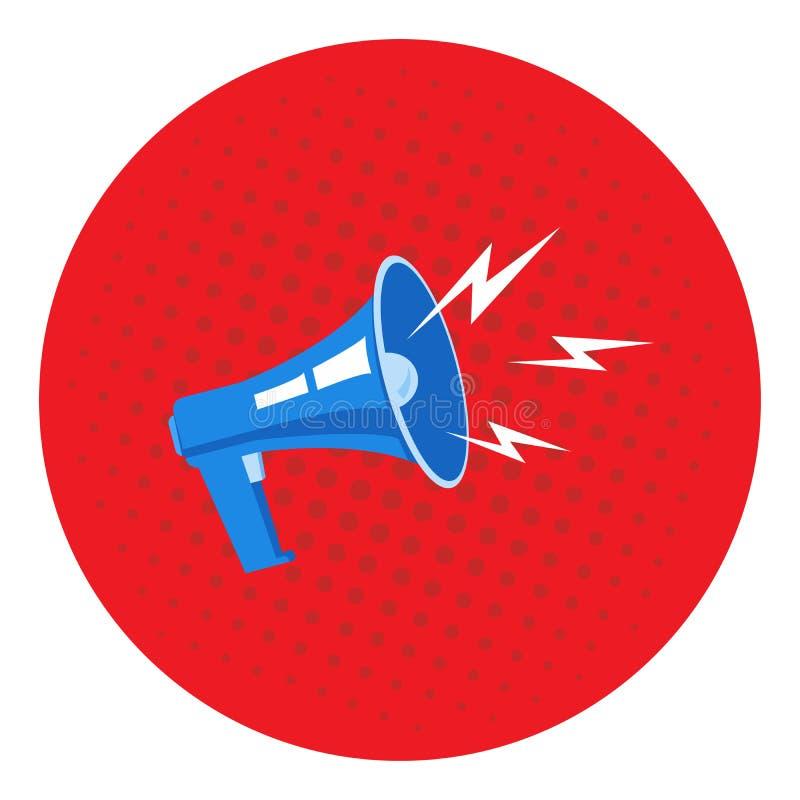 Εικόνα megaphone σε ένα κόκκινο υπόβαθρο, λαϊκή τέχνη, τρύγος Μέγα προσφορά διαφήμισης, έμβλημα μπλε διάνυσμα ουρανού ουράνιων τό διανυσματική απεικόνιση