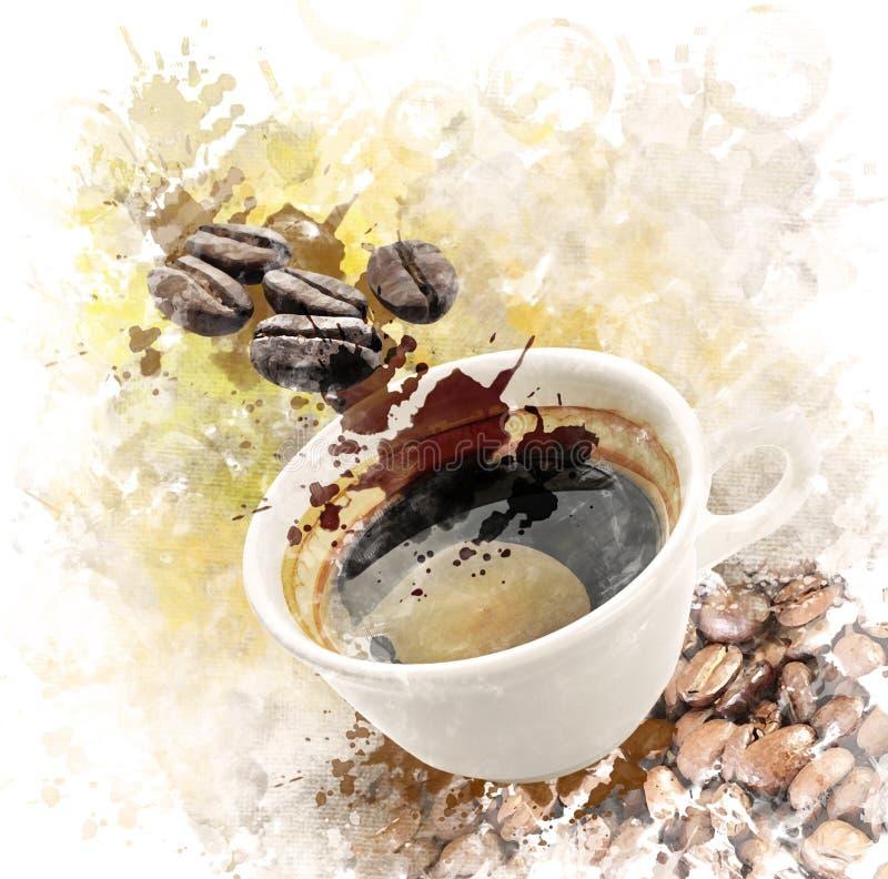 Εικόνα Watercolor του καφέ πρωινού απεικόνιση αποθεμάτων