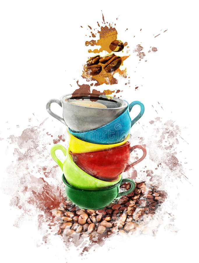 Εικόνα Watercolor των φλυτζανιών καφέ απεικόνιση αποθεμάτων