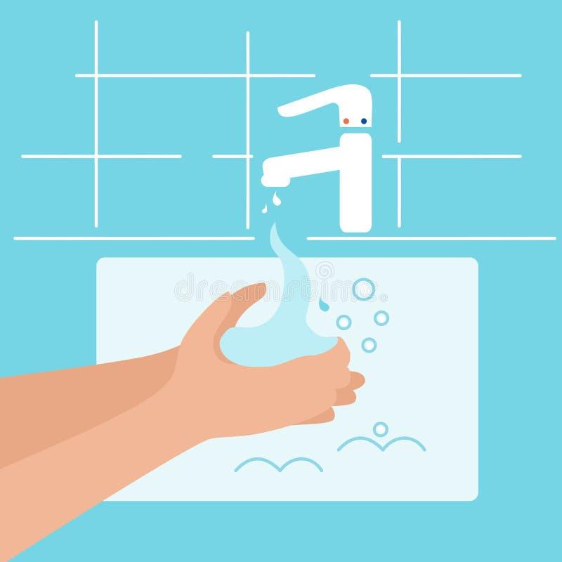 Εικόνες από φορείς σχετικά με το πλύσιμο, την υγιεινή, την υγειονομική περίθαλψη Βρύση στο μπάνιο με νερό, σαπούνι και χέρια ελεύθερη απεικόνιση δικαιώματος