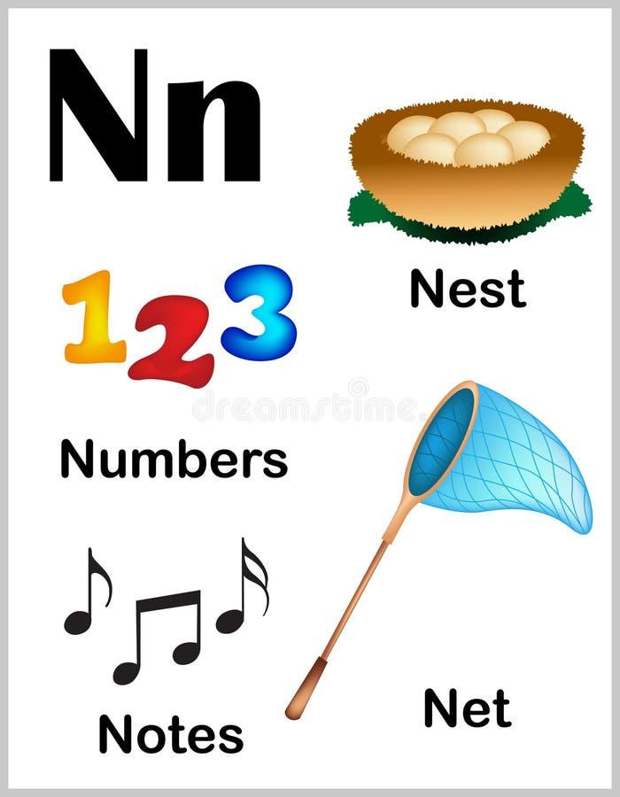 Εικόνες γραμμάτων Ν αλφάβητου απεικόνιση αποθεμάτων