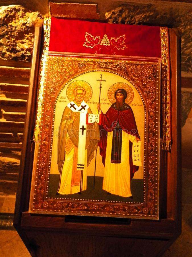 Εικόνες, θρησκευτικό έργο της τέχνης στο μοναστήρι Panteleimon, Μακεδονία στοκ φωτογραφία με δικαίωμα ελεύθερης χρήσης