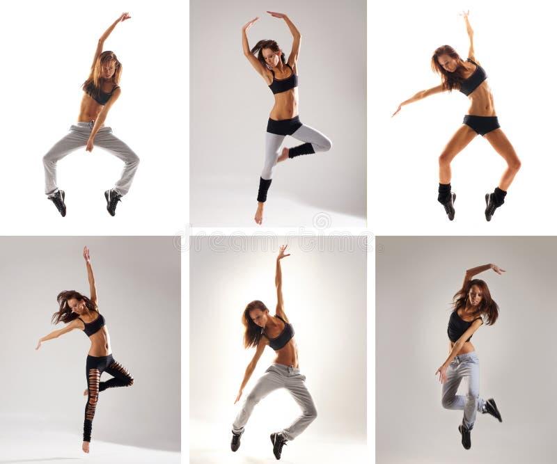 εικόνες κολάζ που πηδούν τις νεολαίες γυναικών στοκ φωτογραφία με δικαίωμα ελεύθερης χρήσης