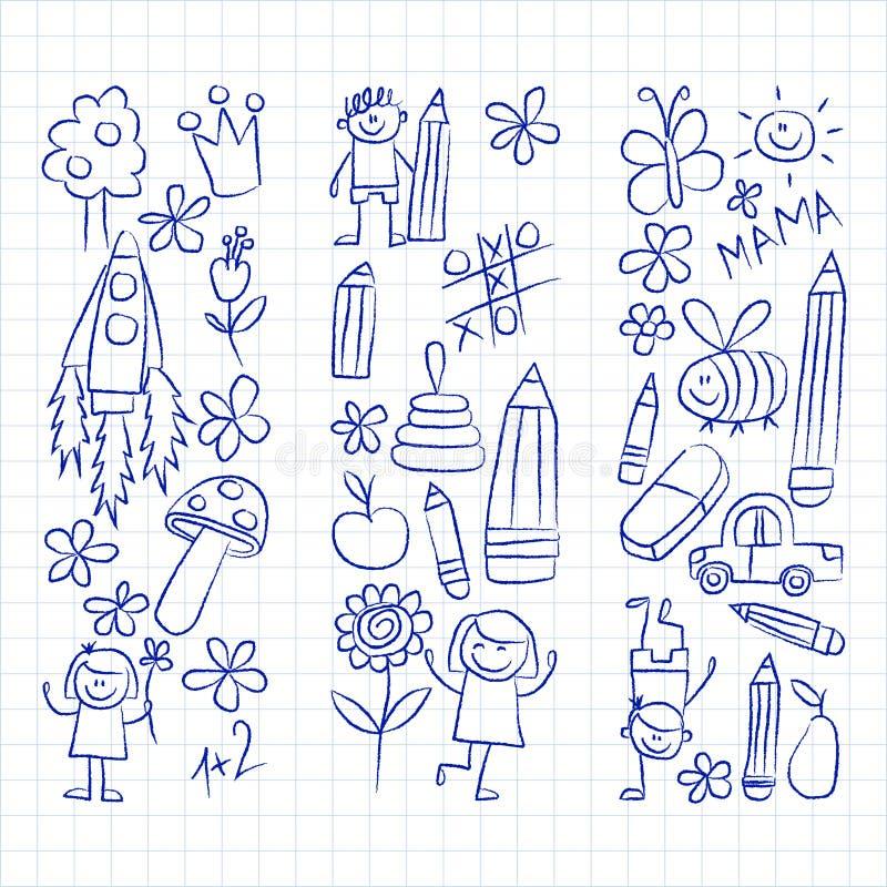 Εικόνες παιδικών σταθμών doodle σε χαρτί σημειωματάριων ελεύθερη απεικόνιση δικαιώματος