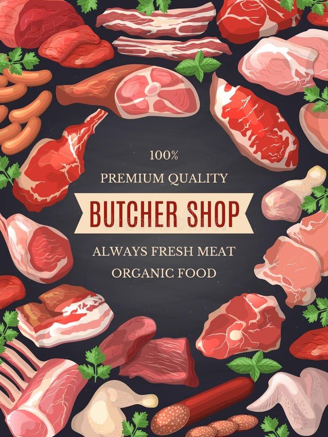 Εικόνες τροφίμων καθορισμένες Απεικονίσεις του κρέατος Αφίσα για το κατάστημα χασάπηδων ελεύθερη απεικόνιση δικαιώματος
