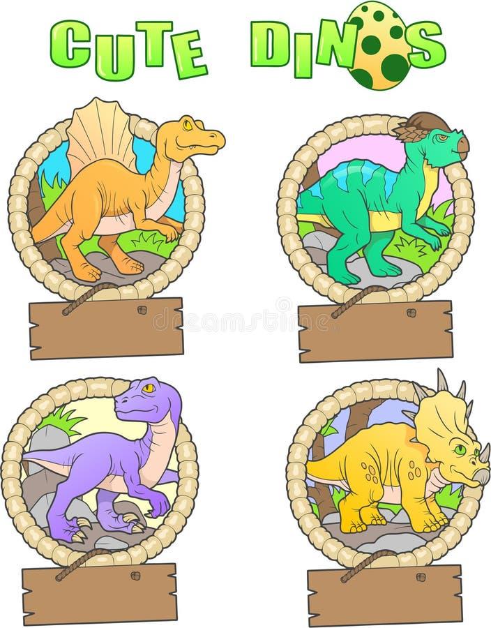 Εικόνες των αστείων δεινοσαύρων διανυσματική απεικόνιση
