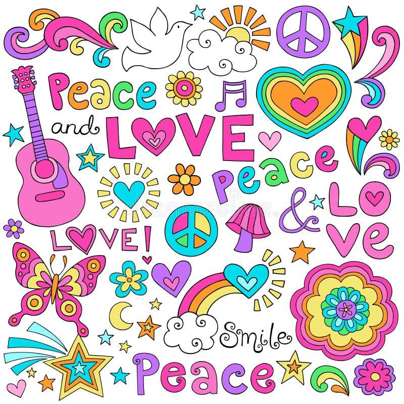 Ειρήνη, αγάπη, & διανυσματικό σύνολο Doodles σημειωματάριων μουσικής απεικόνιση αποθεμάτων
