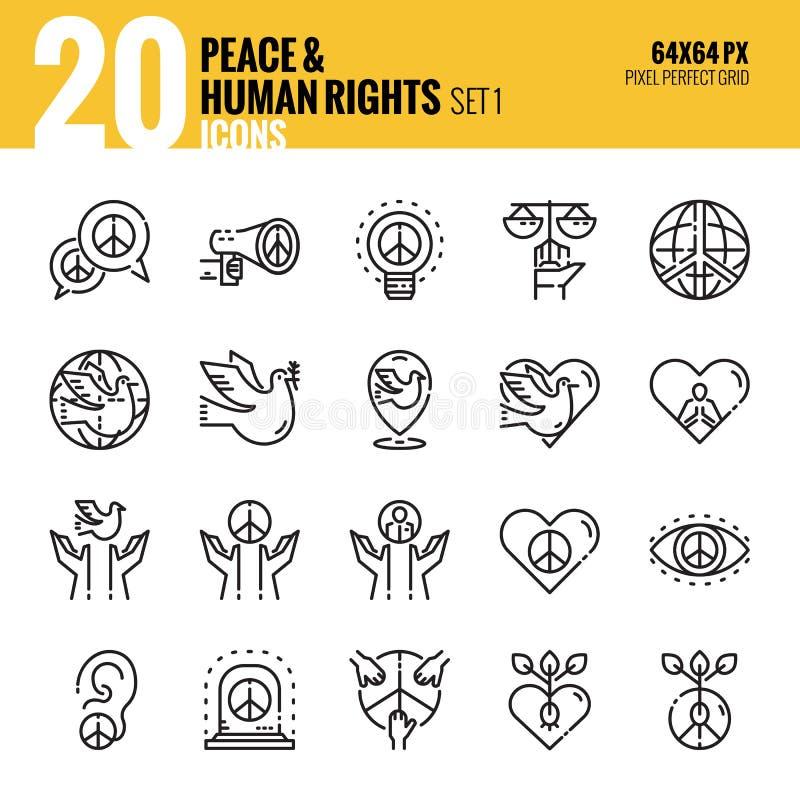 Ειρήνη και εικονίδιο των ανθρώπινων δικαιωμάτων set1 απεικόνιση αποθεμάτων