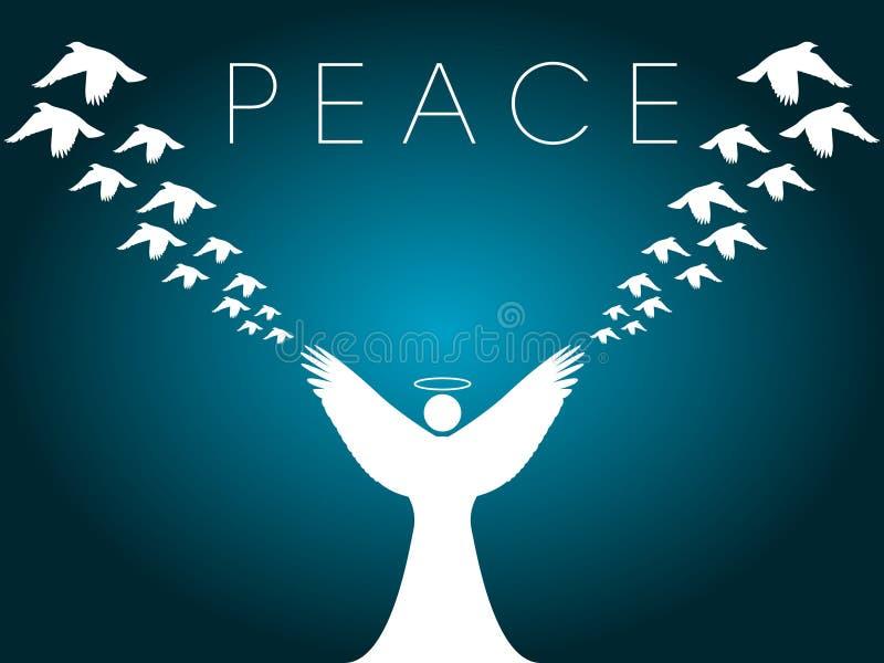 ειρήνη σχεδίου Χριστουγέννων καρτών διανυσματική απεικόνιση