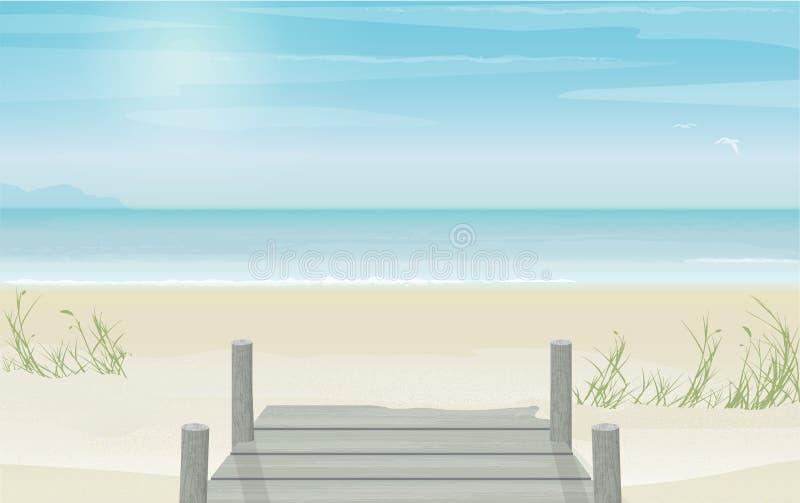 Ειρηνική άποψη της θερινών παραλίας, της αποβάθρας και του ορίζοντα ελεύθερη απεικόνιση δικαιώματος
