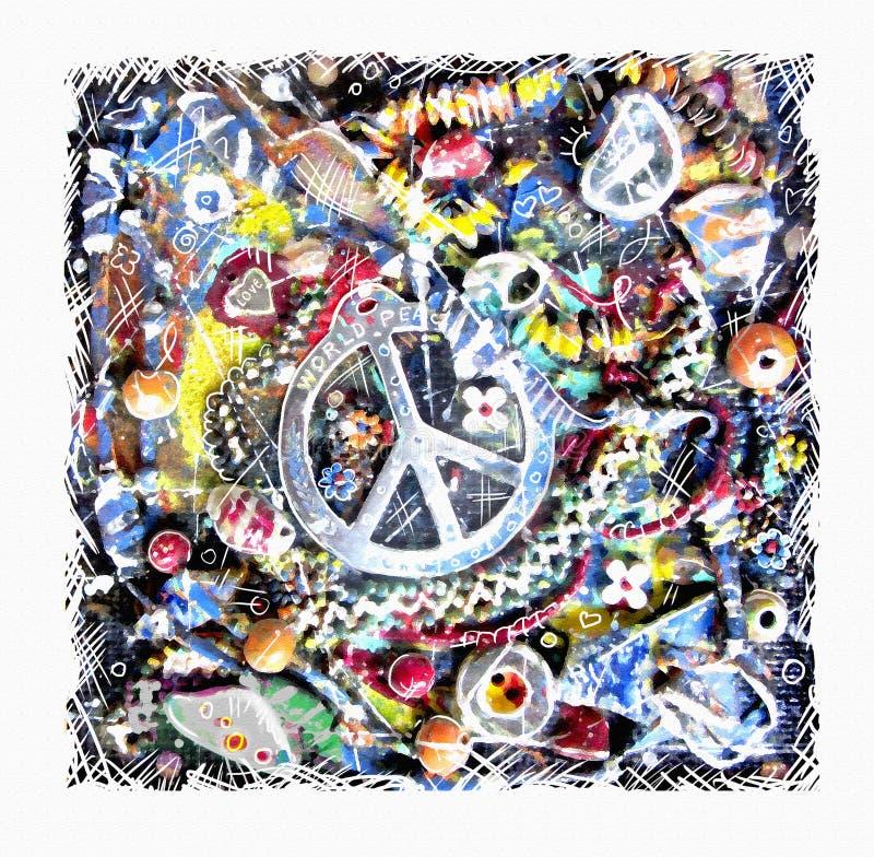 Ειρηνική κάρτα Απεικόνιση του διακοσμητικού σημαδιού ειρήνης στο πολύχρωμο υπόβαθρο grunge διανυσματική απεικόνιση