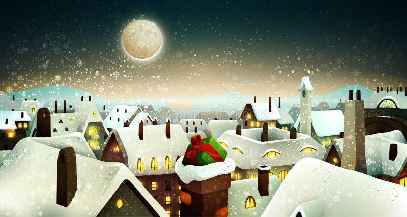 Ειρηνική πόλη κάτω από το σεληνόφωτο στη Παραμονή Χριστουγέννων ελεύθερη απεικόνιση δικαιώματος