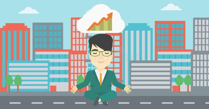 Ειρηνικός επιχειρηματίας που κάνει τη γιόγκα διανυσματική απεικόνιση