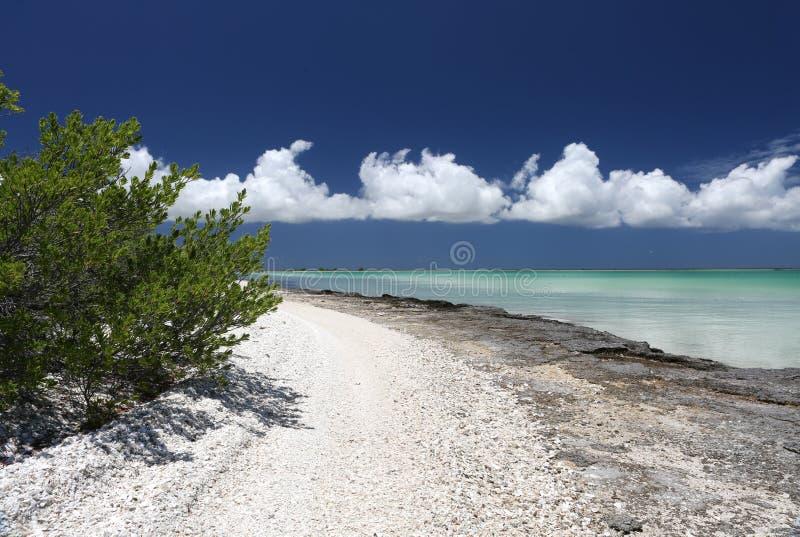 Ειρηνικό νησί με τα μικροσκοπικά κοχύλια στην παραλία στην τυρκουάζ λιμνοθάλασσα νερού στοκ φωτογραφία