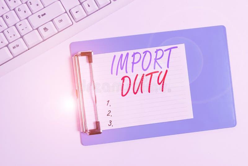 Εισαγωγικός δασμός για τη γραφή κειμένου Επιχειρηματική έννοια του φόρου που επιβάλλεται από την κυβέρνηση σε αγαθά από άλλες χώρ στοκ εικόνες με δικαίωμα ελεύθερης χρήσης