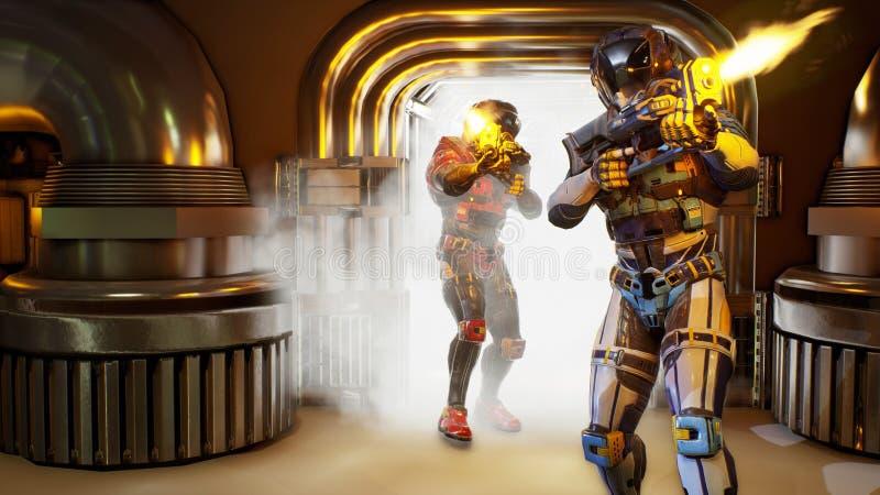 Εισβολή των στρατιωτικών στρατιώτης-αστροναυτών Δραματική έξοχη ρεαλιστική έννοια τρισδιάστατη απόδοση ελεύθερη απεικόνιση δικαιώματος
