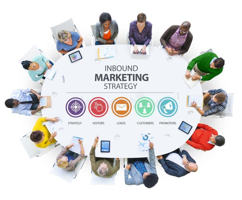 Εισερχόμενη διαφήμιση εμπορικό μαρκάροντας κοβάλτιο εμπορικής στρατηγικής στοκ φωτογραφία