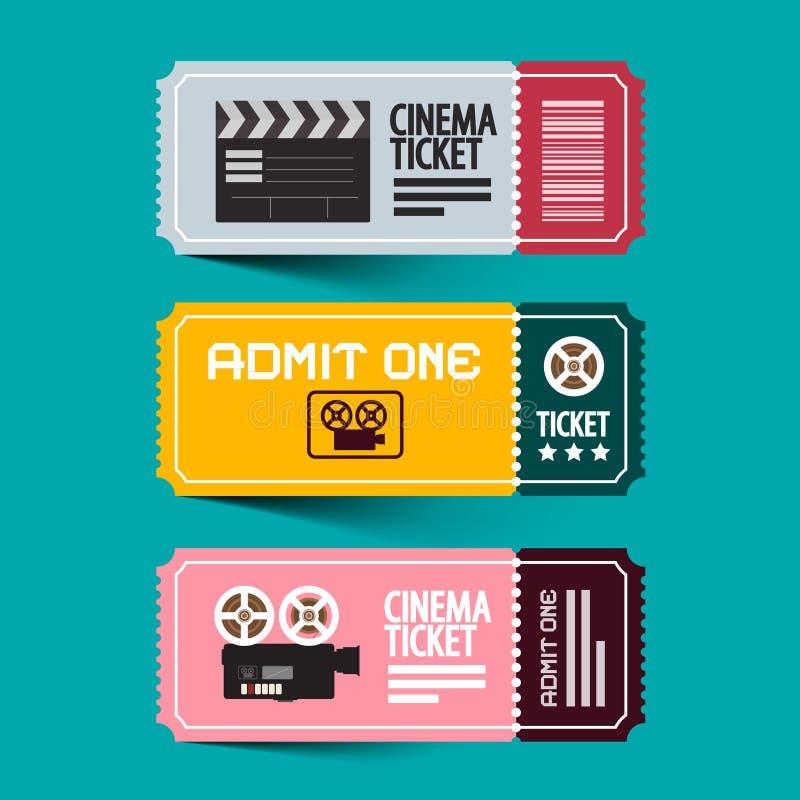 Εισιτήρια κινηματογράφων καθορισμένα Το έγγραφο αναγνωρίζει ένα διανυσματικό σύνολο εισιτηρίων διανυσματική απεικόνιση