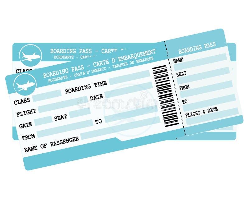 Εισιτήρια πτήσης Δύο μπλε περάσματα τροφής Απεικόνιση για την αναχώρηση διακοπών απεικόνιση αποθεμάτων