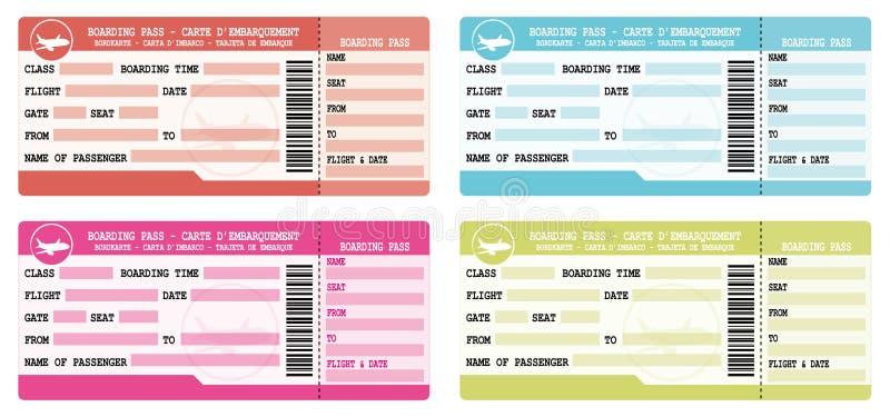 Εισιτήρια πτήσης Ζωηρόχρωμα περάσματα τροφής Απεικονίσεις που τίθενται για την αναχώρηση διακοπών απεικόνιση αποθεμάτων