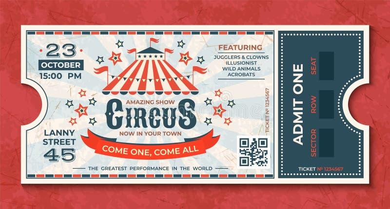 Εισιτήρια τσίρκων Εκλεκτής ποιότητας έμβλημα γεγονότος καρναβαλιού, αναδρομικό δελτίο πολυτέλειας με τη σκηνή και ανακοίνωση κομμ διανυσματική απεικόνιση