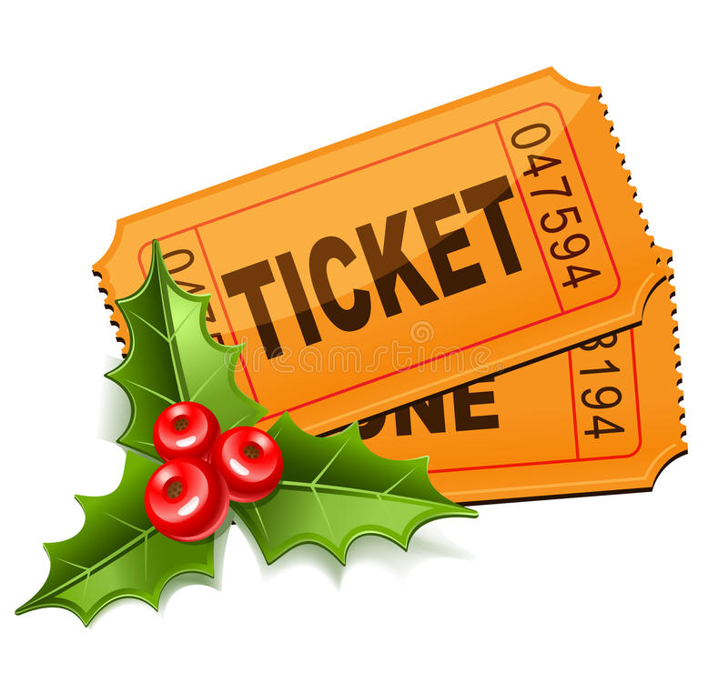 Εισιτήρια Χριστουγέννων με το γκι ελεύθερη απεικόνιση δικαιώματος