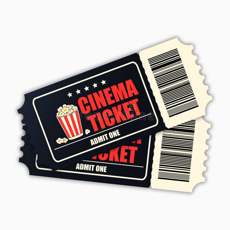 Εισιτήριο κινηματογράφων Πρότυπο των μαύρων ρεαλιστικών εισιτηρίων κινηματογράφων που απομονώνονται στο άσπρο υπόβαθρο διάνυσμα διανυσματική απεικόνιση