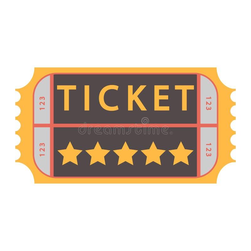 Εισιτήριο κινηματογράφων το διάνυσμα αναγνωρίζει μια απεικόνιση, πέρασμα αποδοχής ελεύθερη απεικόνιση δικαιώματος