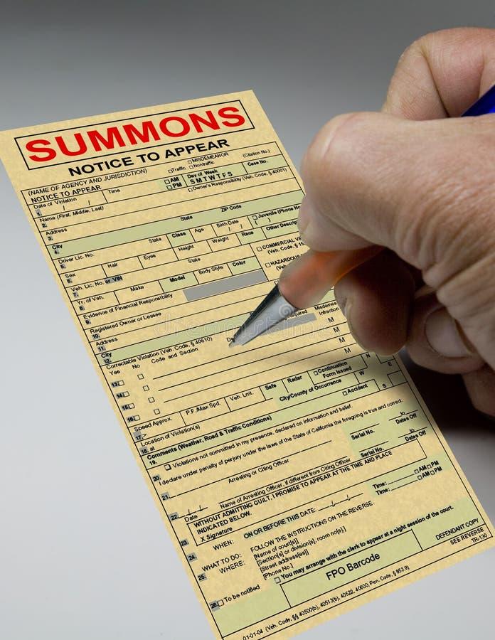 εισιτήριο κλητεύσεων δ&iota στοκ φωτογραφία με δικαίωμα ελεύθερης χρήσης