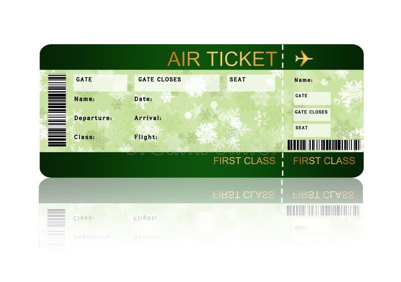 Εισιτήριο περασμάτων τροφής αερογραμμών Χριστουγέννων που απομονώνεται πέρα από το λευκό